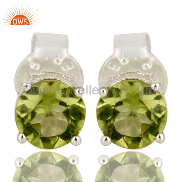 925 Sterling Silver Green Peridot Gemstone Basket Set Stud Earrings