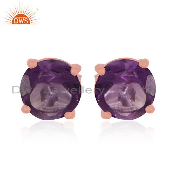 Amethyst Gemstone 925 Silver Rose Gold Plated Stud Earrings Manufacturer India