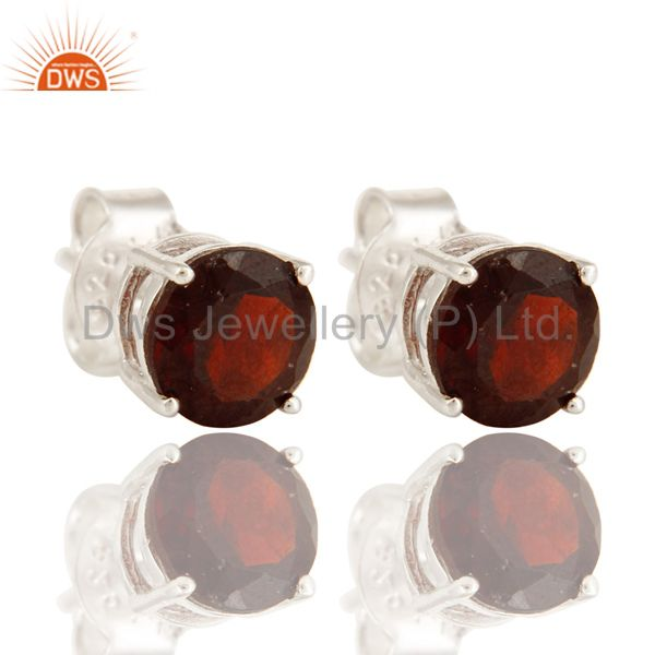 925 Sterling Silver Garnet Gemstone Round Stud Earrings For Womens