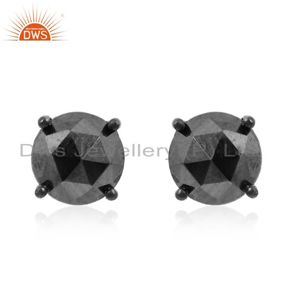Hematite Gemstone Black Rhodium Plated 925 Silver Stud Earrings Manufacturer
