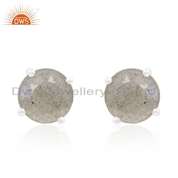 Natural Labradorite Gemstone Fine Sterling Silver Stud Earrings Manufacturer