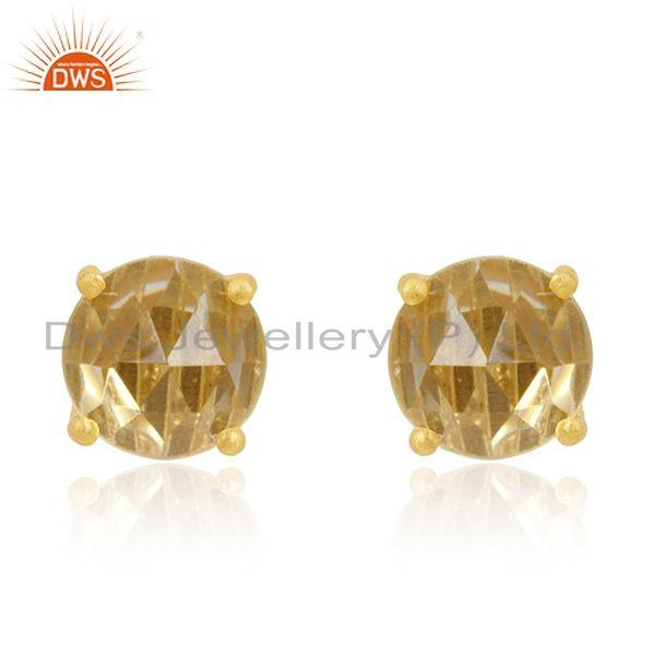 Gold Plated 92.5 Silver Lemon Topaz Prong Set Gemstone Stud Earrings Wholesale
