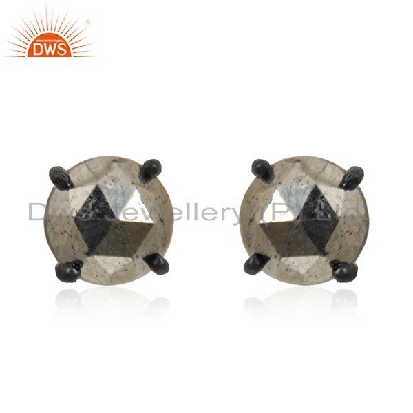 Pyrite Gemstone Black Rhodium Plated 925 Silver Stud Earrings Wholesale Supplier