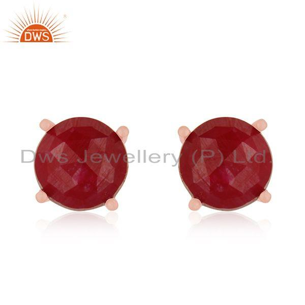 Round Ruby Corundum Gemstone Rose Gold Plated 925 Silver Stud Earrings Wholesale