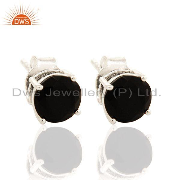 7mm Round Black Onyx Gemstone Sterling Silver Stud Earrings For Womens