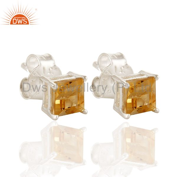 Natural Citrine Gemstone Princess Cut Stud Earrings in 925 Sterling Silver