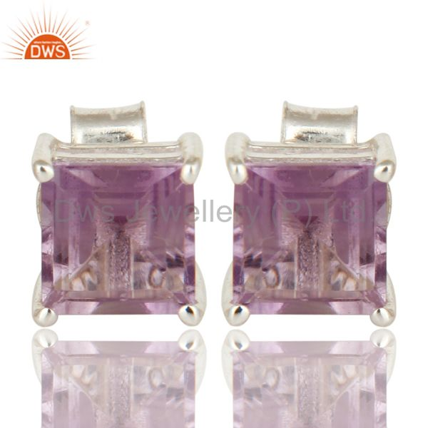Cushion Cut Amethyst Gemstone Prong Set Stud Earrings in 925 Sterling Silver
