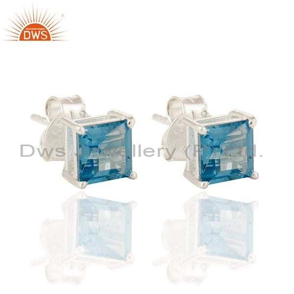 Natural Blue Topaz Princess Cut Stud Earrings  In 925 Sterling Silver