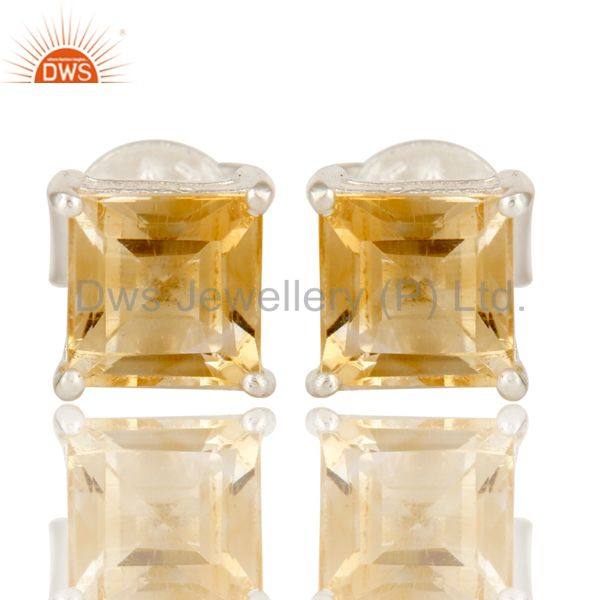 925 Sterling Silver Citrine Gemstone Princess Cut Basket Set Stud Earrings