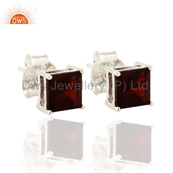 6MM Natural Garnet Gemstone Princess-Cut Stud Earrings in Sterling Silver