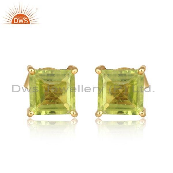 Handcrafted dainty yellow gold on silver 925 peridot studs