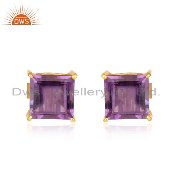 Handcrafted Dainty Yellow Gold on Silver 925 Amethyst Studs