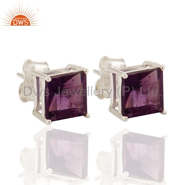 7MM Natural Amethyst Gemstone Princess-Cut Stud Earrings in Sterling Silver