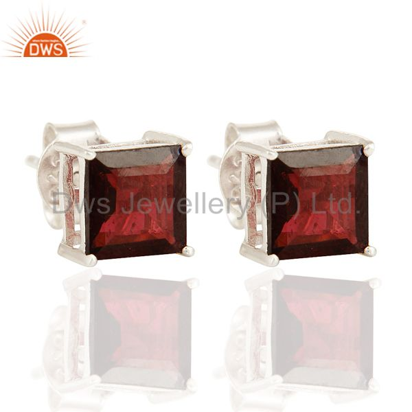 Genuine 7MM Red Garnet Gemstone 925 Sterling Silver Prong Set Stud Earrings