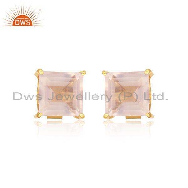 Handcrafted Dainty Yellow Gold on Silver 925 Rose Quartz Studs