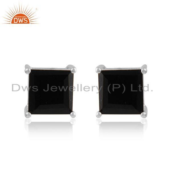 Black onyx gemstone womens fine sterling silver stud earrings