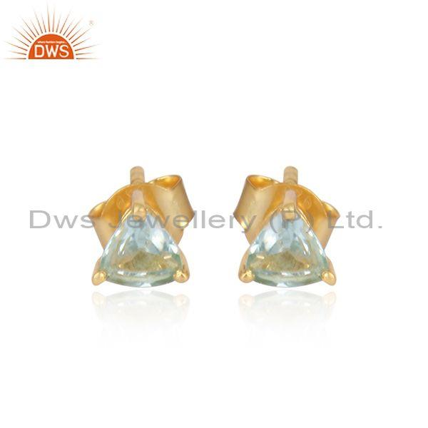Blue topaz set gold on sterling silver statement earrings