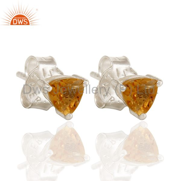 925 Sterling Silver Natural Citrine Gemstone Trillion Cut Stud Earrings
