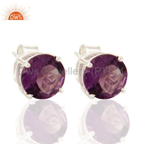 6mm Round Checkerboard Amethyst Stud Earrings In 925 Sterling Silver