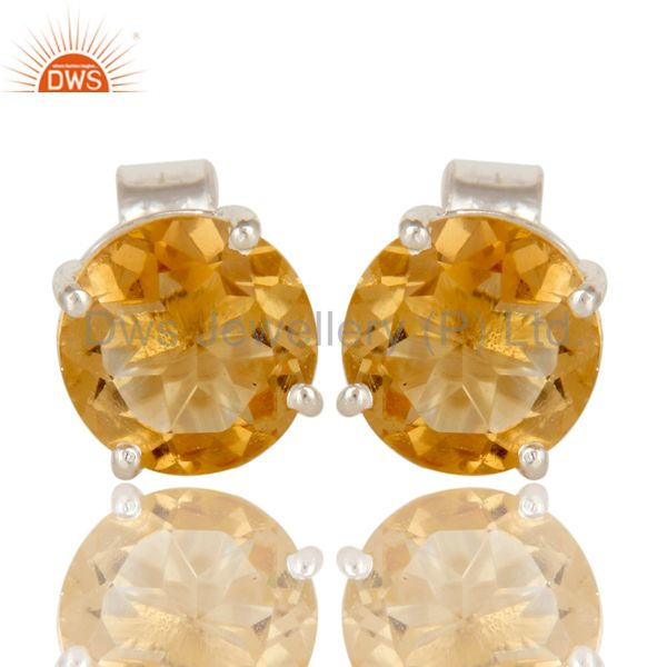 925 Sterling Silver Natural Citrine Gemstone Round Cut Basket Set Stud Earrings