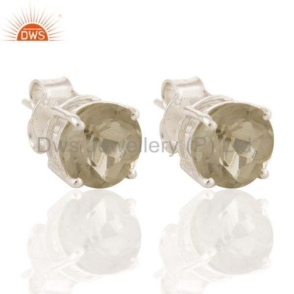 3.75 Cts Genuine Green Amethyst Checkerboard Round Sterling Silver Stud Earrings