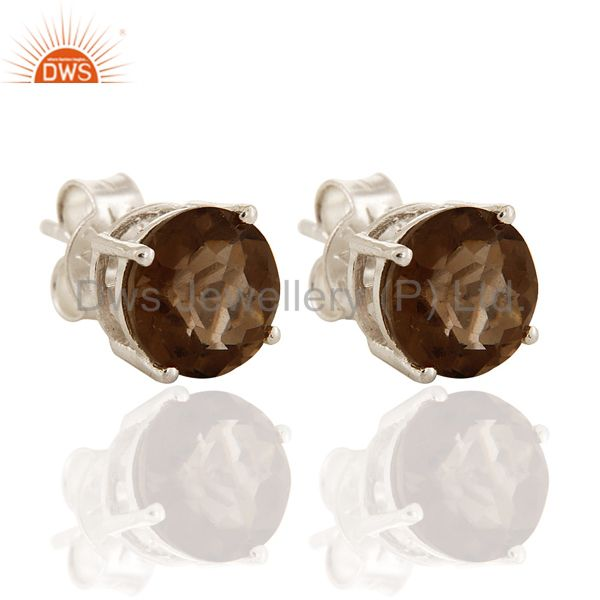 Natural Smoky Quartz Gemstone 925 Sterling Silver Prong Set Stud Earrings
