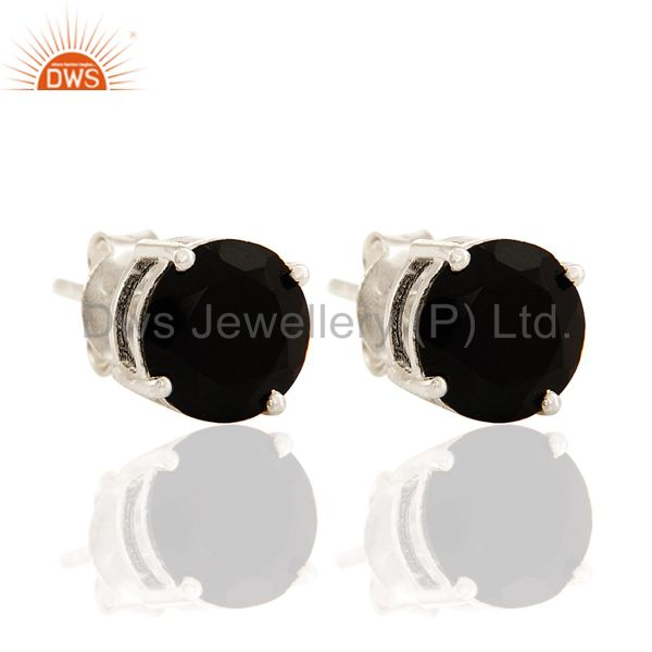 Black Onyx 925 Sterling Silver Prong Set Gemstone Womens Stud Earrings