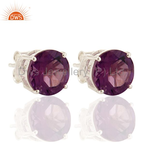 925 Sterling Silver Amethyst Gemstone Ball Stud Earrings Gift For Her