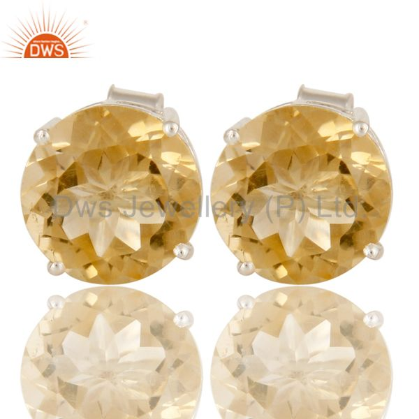 925 Sterling Silver Natural Citrine Round Basket Set Womens Stud Earrings