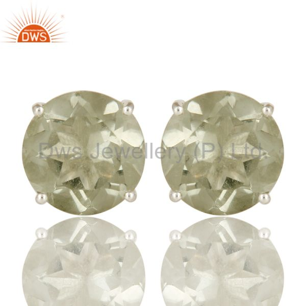 Green Amethyst Gemstone Basket Set Stud Earrings For Womens In Sterling Silver