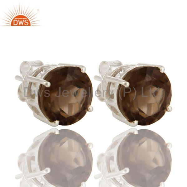 Solid Sterling Silver Smoky Quartz Gemstone Round Womens Stud Earrings