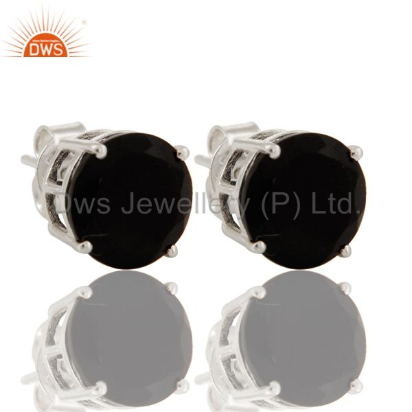 925 Sterling Silver Black Onyx Gemstone Round Womens Stud Earrings
