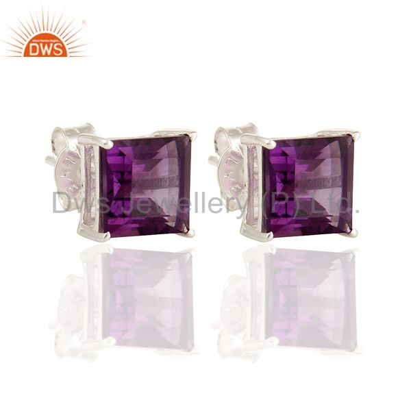 925 Sterling Silver Amethyst Gemstone Princess Cut Stud Earrings Jewelry