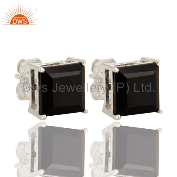 925 Sterling Silver Square Cut Black Onyx Gemstone Womens Stud Earrings