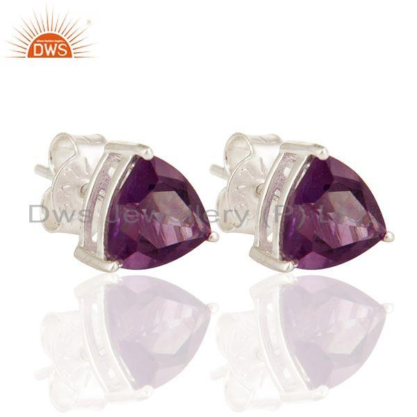 8mm Amethyst Trillion Cut Gemstone Stud Earrings In 925 Sterling Silver