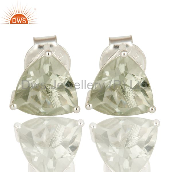 Green Amethyst Trillion Basket Set Stud Earrings For Womens In Sterling Silver