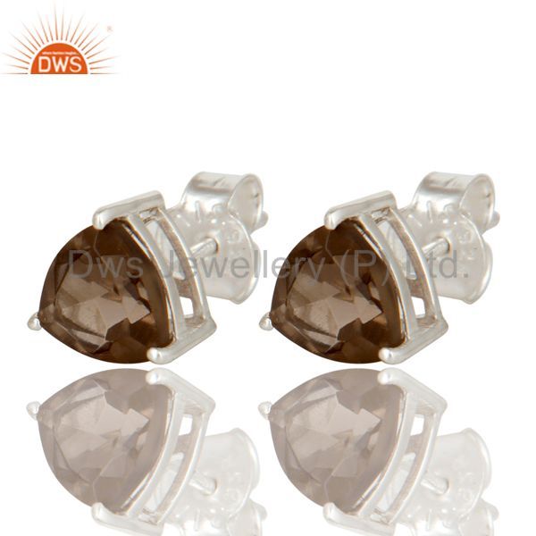 Trillion Cut Smoky Quartz Gemstone Sterling Silver Basket Set Stud Earrings