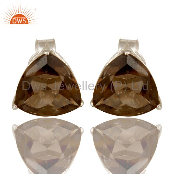 925 Sterling Silver Trillion Cut Smoky Quartz Gemstone Basket Set Stud Earrings