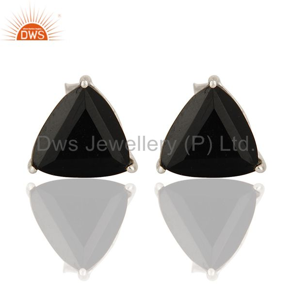 925 Sterling Silver Black Onyx Gemstone Trillion Cut Womens Stud Earrings