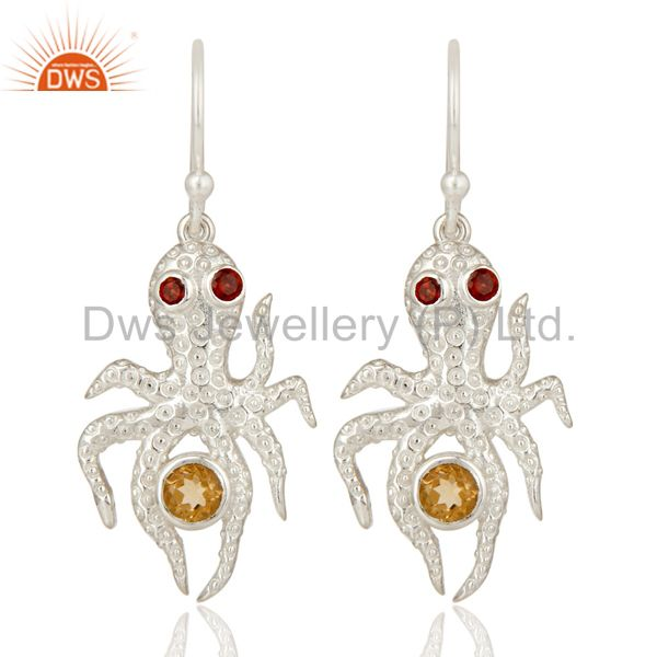 Citrine and Garnet Gemstone Sterling Silver Octopus Dangle Earrings