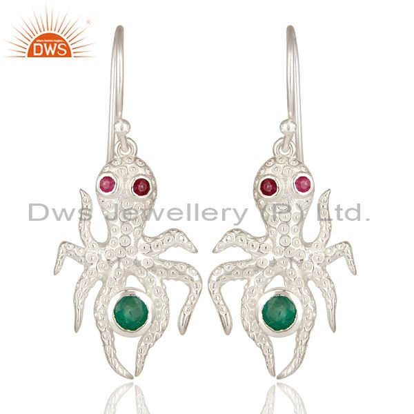 Designer Sterling Silver Ruby And Emerald Gemstone Octopus Dangle Earrings