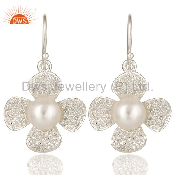 Natural Pearl And White Topaz Sterling Silver Gemstone Flower Dangle Earrings