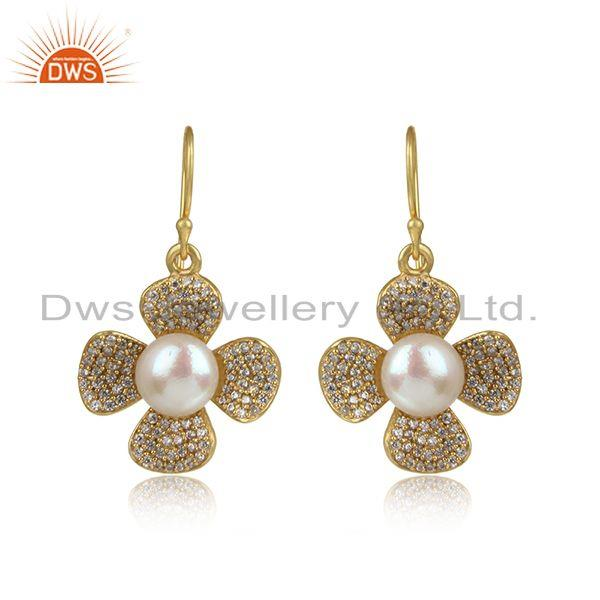 Floral Design Cz Pave Earring in Yellow Gold on Silver with Pearl
