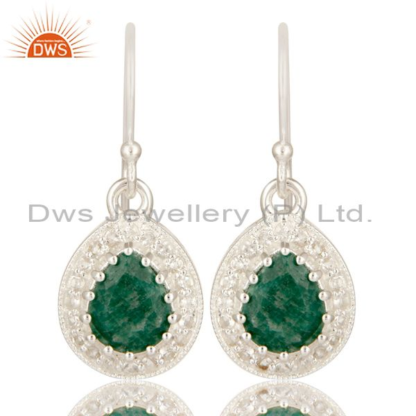 Green Emerald Gemstone Sterling Silver Drop Earrings With White Topaz