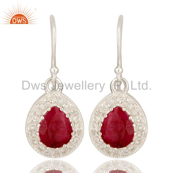 Dyed Ruby And White Topaz Sterling Silver Gemstone Drop Earrings