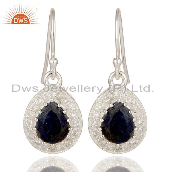Blue Sapphire And White Topaz Sterling Silver Gemstone Teardrop Earrings