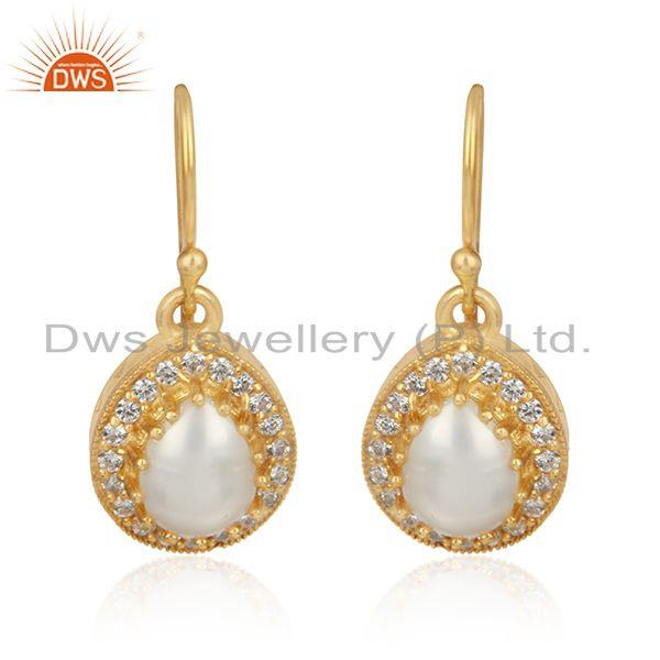 CZ Pearl Gemstone Designer 18k Gold Plated 925 Silver Earrings