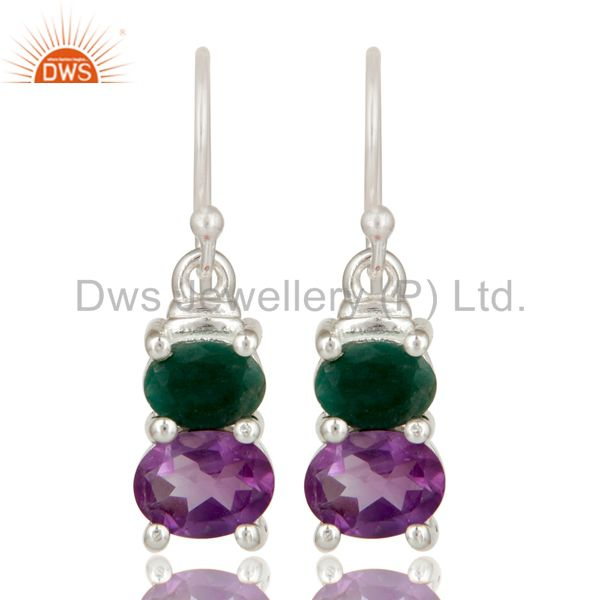 925 Sterling Silver Amethyst And Emerald Prong Set Gemstone Dangle Earrings