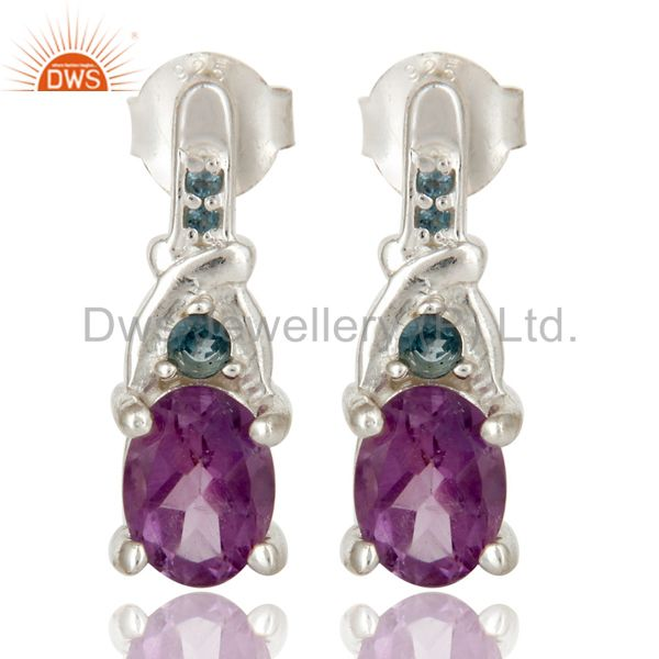 925 Sterling Silver Amethyst and London Blue Topaz Post Stud Earrings