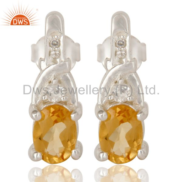 925 Sterling Silver Natural Citrine And White Topaz Post Stud Earrings